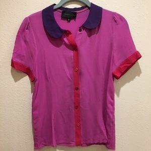 NWOT Color Block Peter Pan Collar Button Up